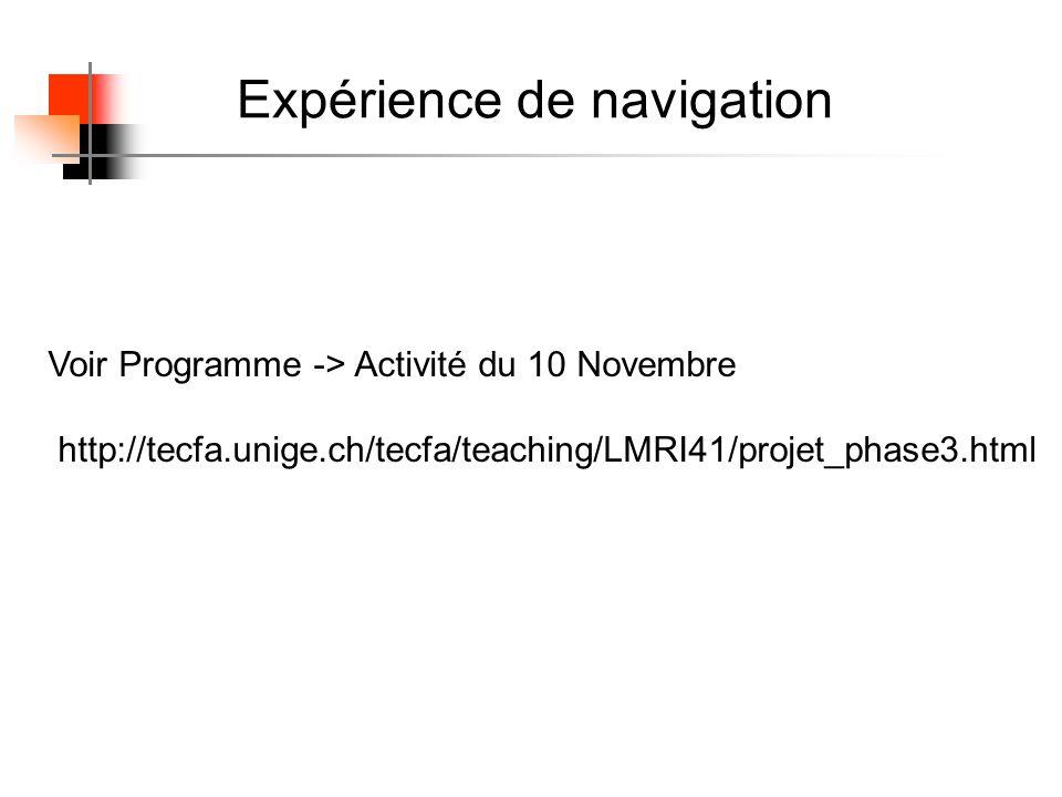 Expérience de navigation Voir Programme -> Activité du 10 Novembre http://tecfa.unige.ch/tecfa/teaching/LMRI41/projet_phase3.html