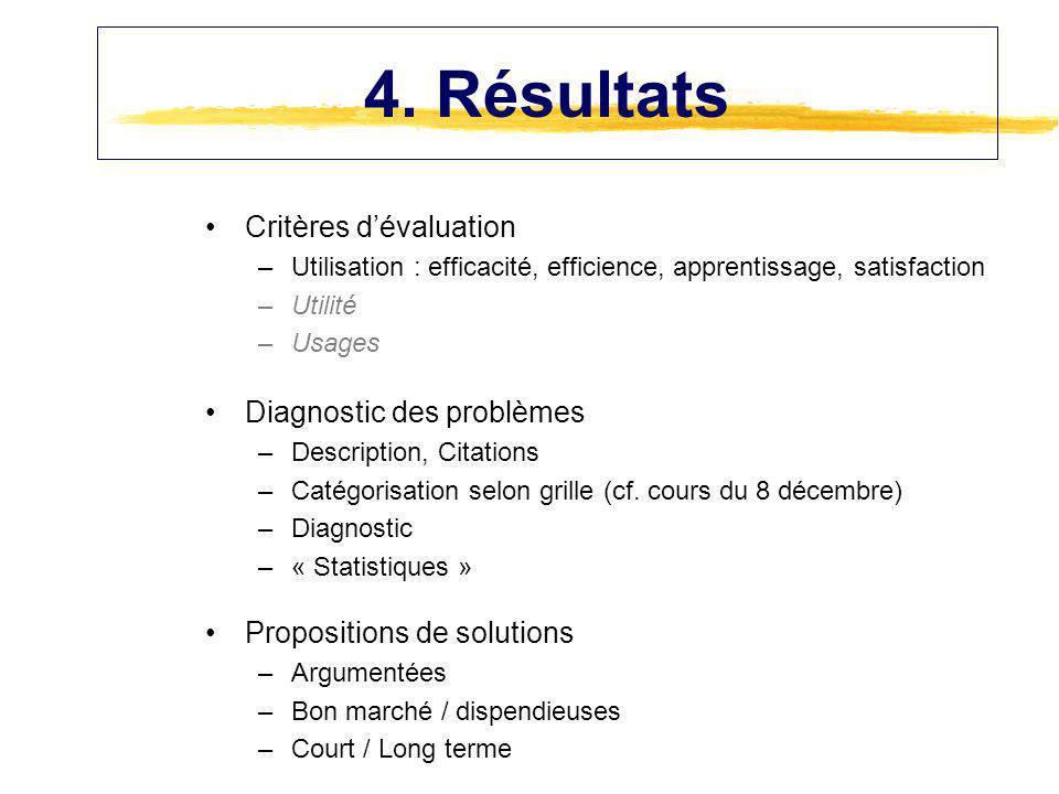 Diagnostic des problèmes –Description, Citations –Catégorisation selon grille (cf. cours du 8 décembre) –Diagnostic –« Statistiques » Propositions de