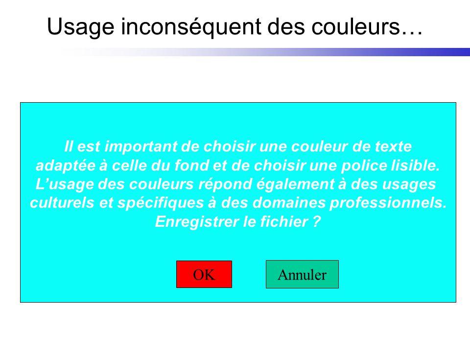 Usage inconséquent des couleurs… Il est important de choisir une couleur de texte adaptée à celle du fond et de choisir une police lisible. Lusage des