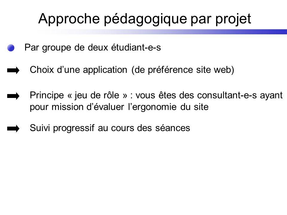 Par groupe de deux étudiant-e-s Approche pédagogique par projet Choix dune application (de préférence site web) Principe « jeu de rôle » : vous êtes d