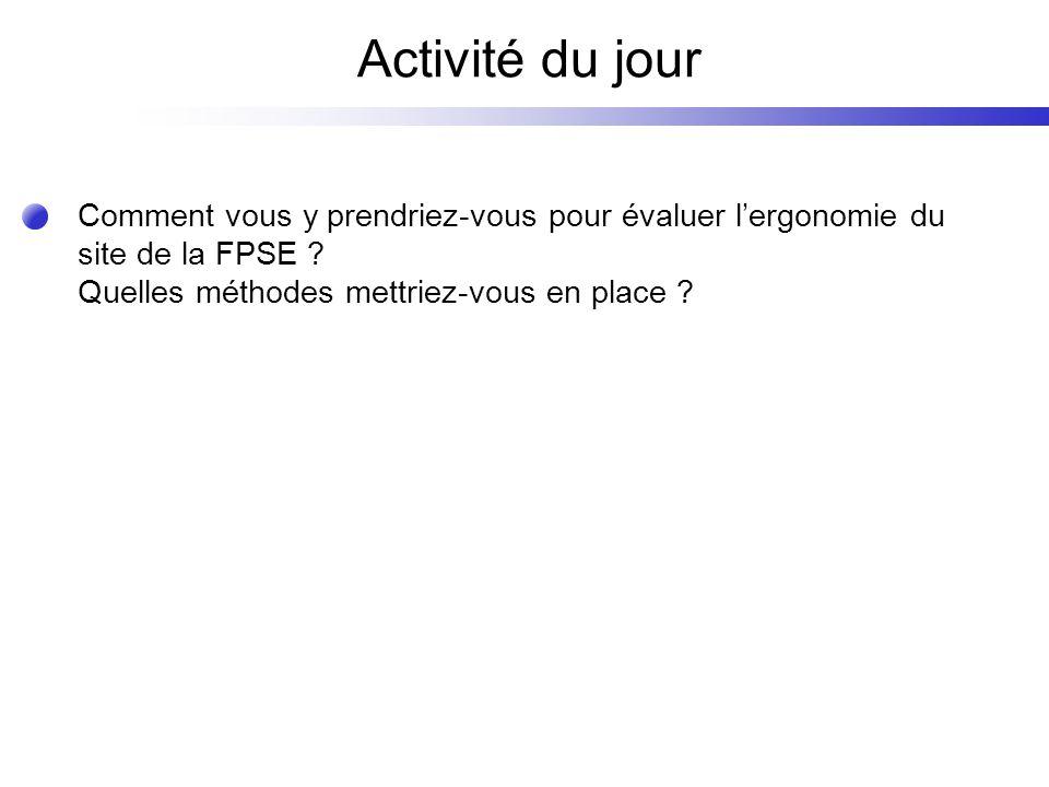 Activité du jour Comment vous y prendriez-vous pour évaluer lergonomie du site de la FPSE .