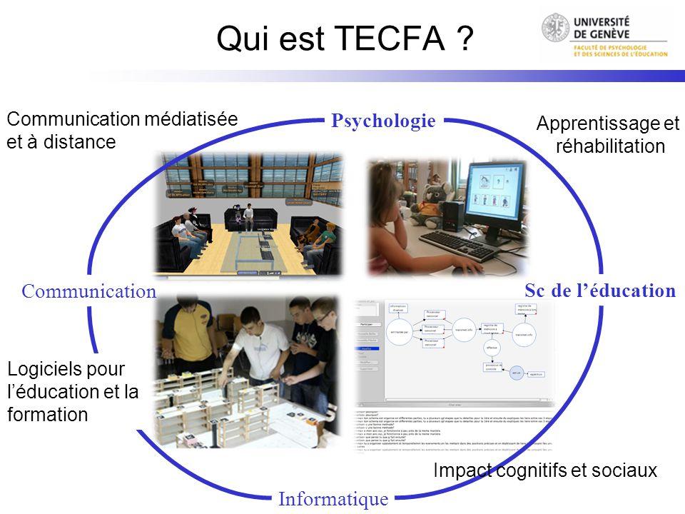 Qui est TECFA ? Psychologie Sc de léducation Informatique Communication Logiciels pour léducation et la formation Apprentissage et réhabilitation Comm