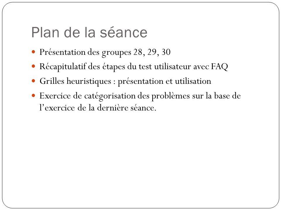Plan de la séance Présentation des groupes 28, 29, 30 Récapitulatif des étapes du test utilisateur avec FAQ Grilles heuristiques : présentation et utilisation Exercice de catégorisation des problèmes sur la base de lexercice de la dernière séance.