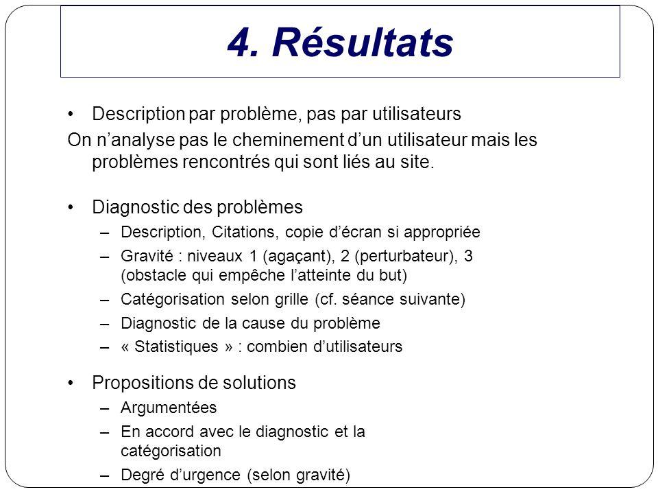 Diagnostic des problèmes –Description, Citations, copie décran si appropriée –Gravité : niveaux 1 (agaçant), 2 (perturbateur), 3 (obstacle qui empêche