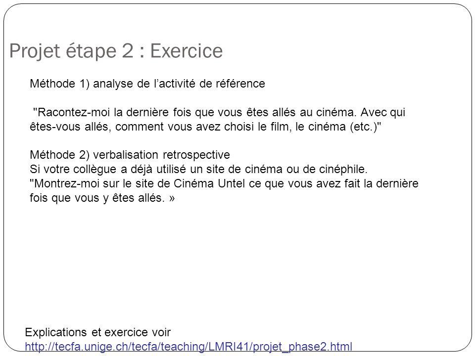 Projet étape 2 : Exercice Explications et exercice voir http://tecfa.unige.ch/tecfa/teaching/LMRI41/projet_phase2.html Méthode 1) analyse de lactivité de référence Racontez-moi la dernière fois que vous êtes allés au cinéma.