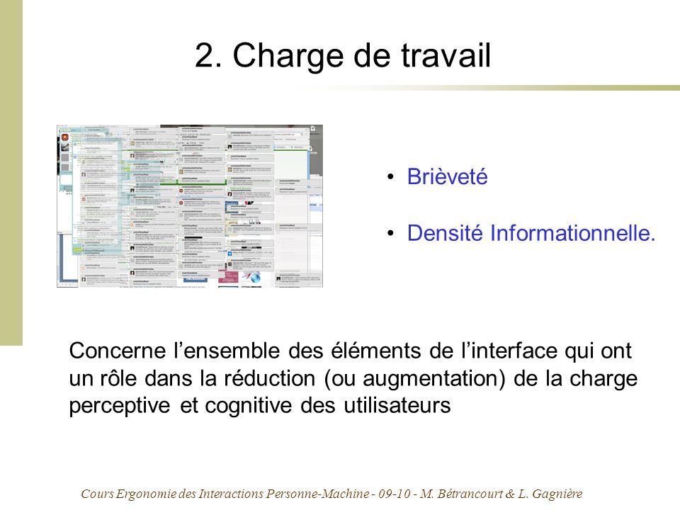 Cours Ergonomie des Interactions Personne-Machine - 09-10 - M. Bétrancourt & L. Gagnière 2. Charge de travail Concerne lensemble des éléments de linte
