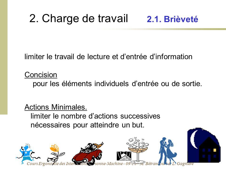 Cours Ergonomie des Interactions Personne-Machine - 09-10 - M. Bétrancourt & L. Gagnière 2. Charge de travail 2.1. Brièveté limiter le travail de lect
