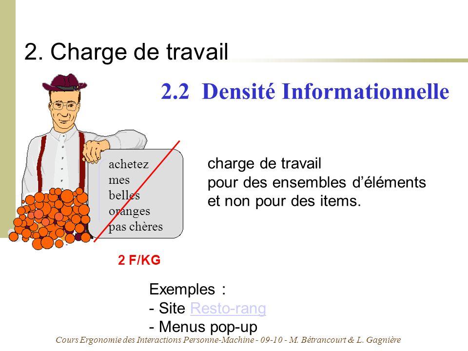 Cours Ergonomie des Interactions Personne-Machine - 09-10 - M. Bétrancourt & L. Gagnière 2. Charge de travail achetez mes belles oranges pas chères ch