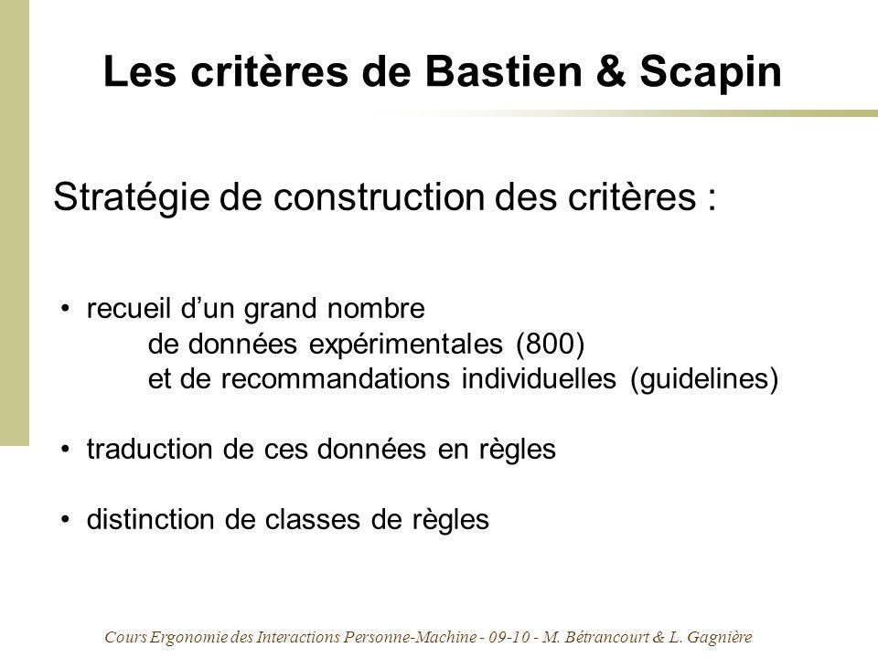 Cours Ergonomie des Interactions Personne-Machine - 09-10 - M. Bétrancourt & L. Gagnière Les critères de Bastien & Scapin recueil dun grand nombre de