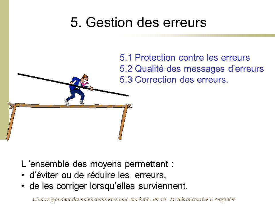 Cours Ergonomie des Interactions Personne-Machine - 09-10 - M. Bétrancourt & L. Gagnière 5. Gestion des erreurs 5.1 Protection contre les erreurs 5.2