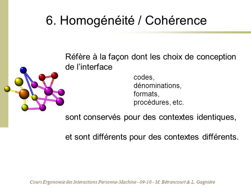 Cours Ergonomie des Interactions Personne-Machine - 09-10 - M. Bétrancourt & L. Gagnière 6. Homogénéité / Cohérence Réfère à la façon dont les choix d