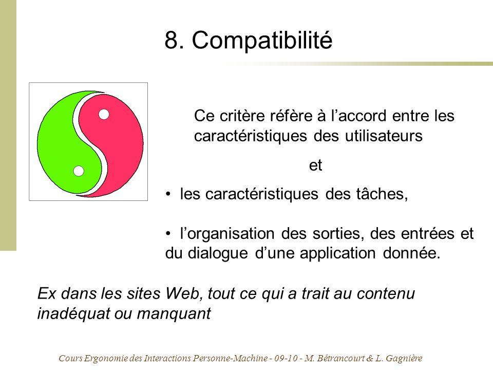 Cours Ergonomie des Interactions Personne-Machine - 09-10 - M. Bétrancourt & L. Gagnière 8. Compatibilité Ce critère réfère à laccord entre les caract