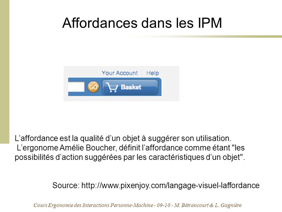 Cours Ergonomie des Interactions Personne-Machine - 09-10 - M. Bétrancourt & L. Gagnière Affordances dans les IPM Laffordance est la qualité dun objet