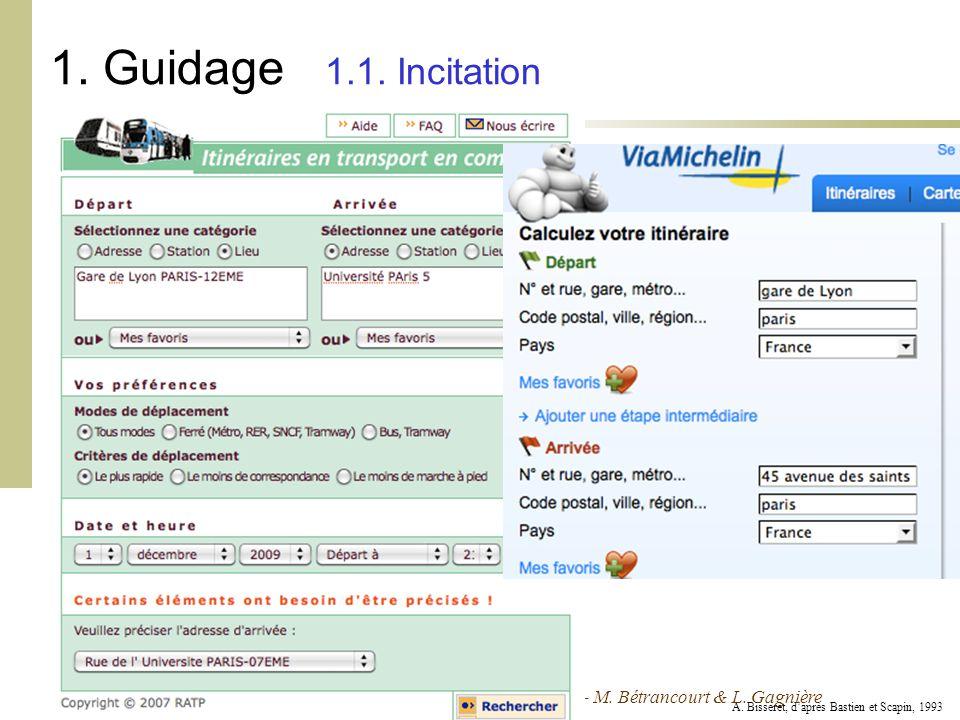 Cours Ergonomie des Interactions Personne-Machine - 09-10 - M. Bétrancourt & L. Gagnière 1. Guidage 1.1. Incitation A. Bisseret, daprès Bastien et Sca