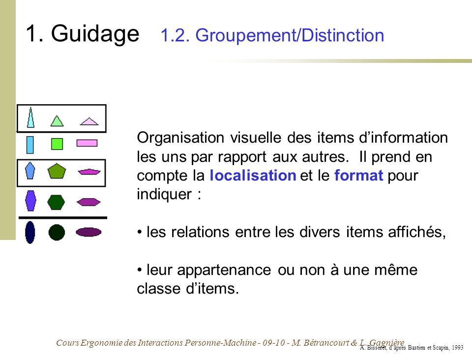 Cours Ergonomie des Interactions Personne-Machine - 09-10 - M. Bétrancourt & L. Gagnière 1. Guidage 1.2. Groupement/Distinction Organisation visuelle