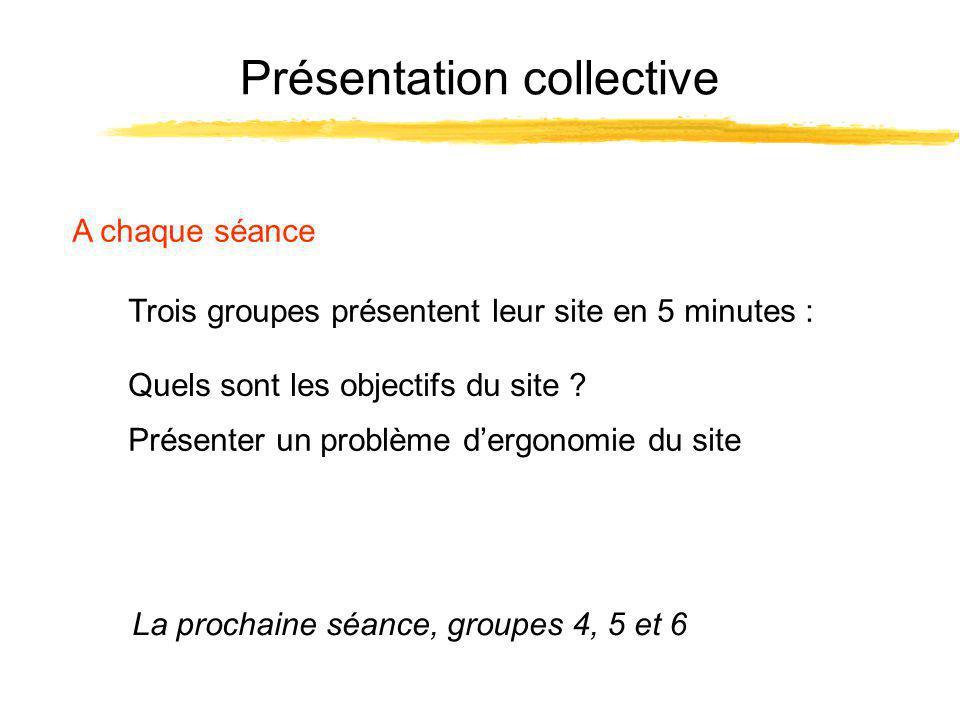 Présentation collective A chaque séance Trois groupes présentent leur site en 5 minutes : La prochaine séance, groupes 4, 5 et 6 Présenter un problème dergonomie du site Quels sont les objectifs du site