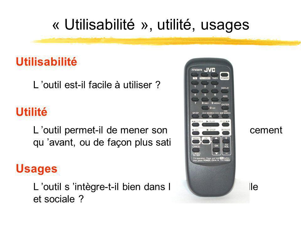 « Utilisabilité », utilité, usages L outil permet-il de mener son activité plus efficacement qu avant, ou de façon plus satisfaisante .