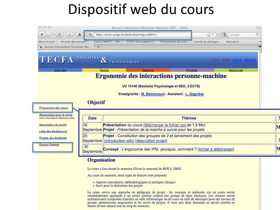 Dispositif web du cours
