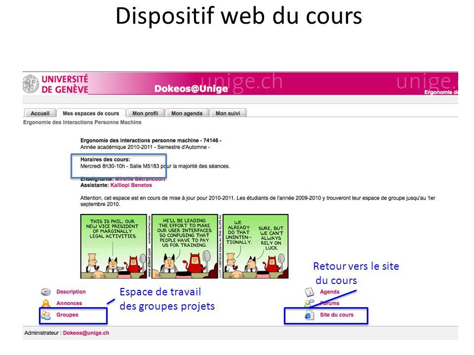 Dispositif web du cours Retour vers le site du cours Espace de travail des groupes projets