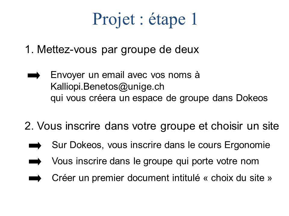 1. Mettez-vous par groupe de deux Projet : étape 1 Envoyer un email avec vos noms à Kalliopi.Benetos@unige.ch qui vous créera un espace de groupe dans