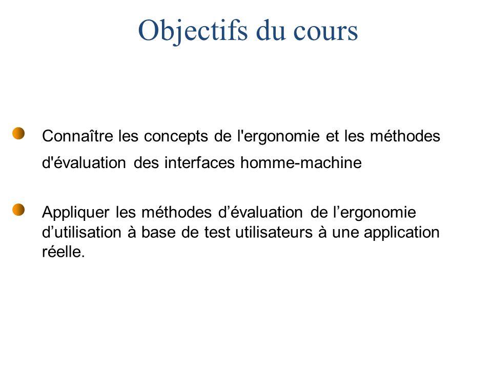 Appliquer les méthodes dévaluation de lergonomie dutilisation à base de test utilisateurs à une application réelle.