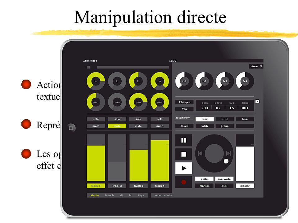 Manipulation directe Actions physiques (souris, joystick) vs.