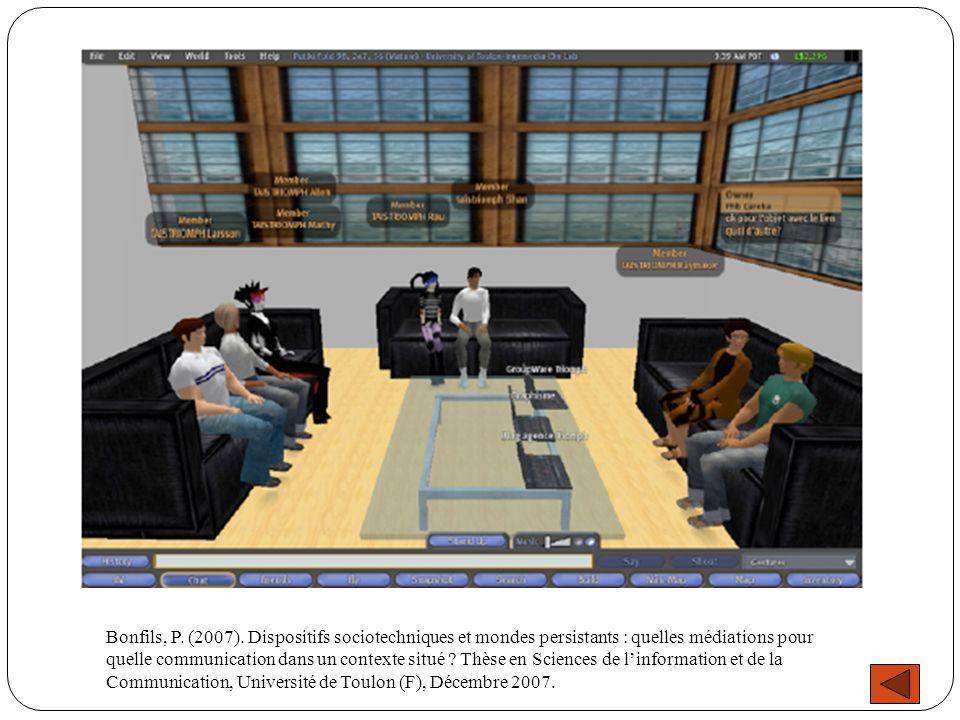 Bonfils, P. (2007). Dispositifs sociotechniques et mondes persistants : quelles médiations pour quelle communication dans un contexte situé ? Thèse en