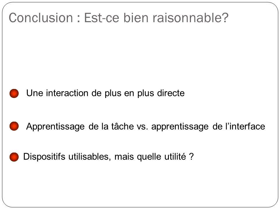 Conclusion : Est-ce bien raisonnable? Une interaction de plus en plus directe Apprentissage de la tâche vs. apprentissage de linterface Dispositifs ut