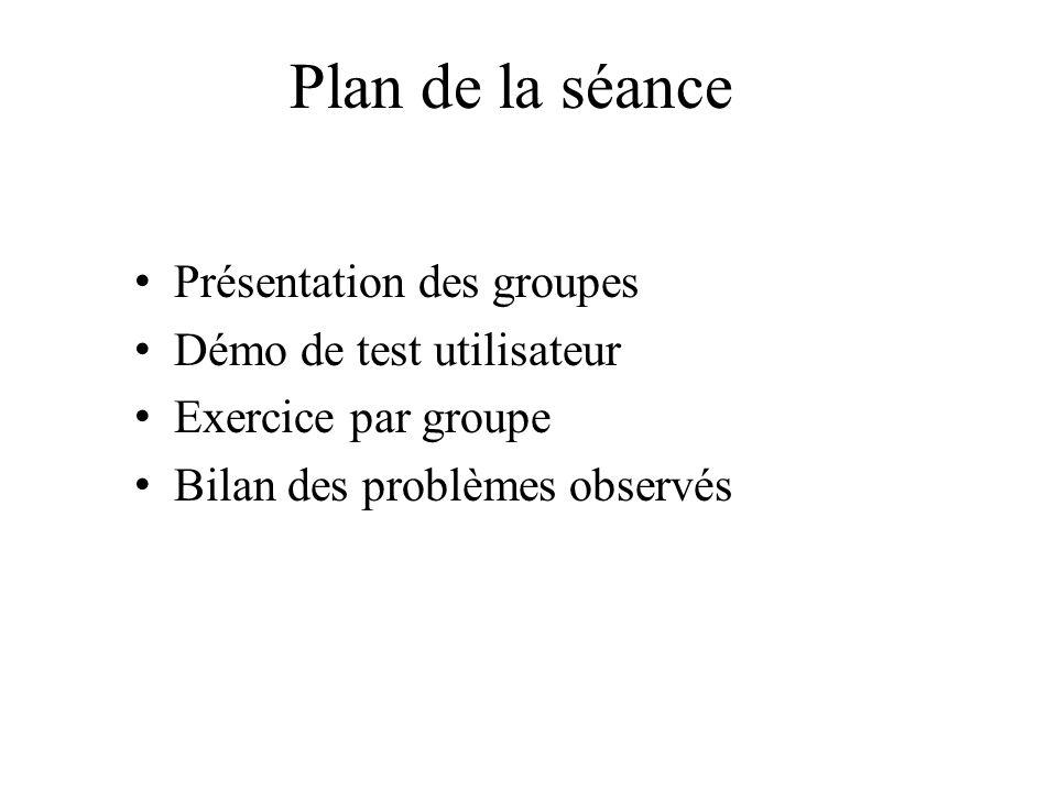 Plan de la séance Présentation des groupes Démo de test utilisateur Exercice par groupe Bilan des problèmes observés