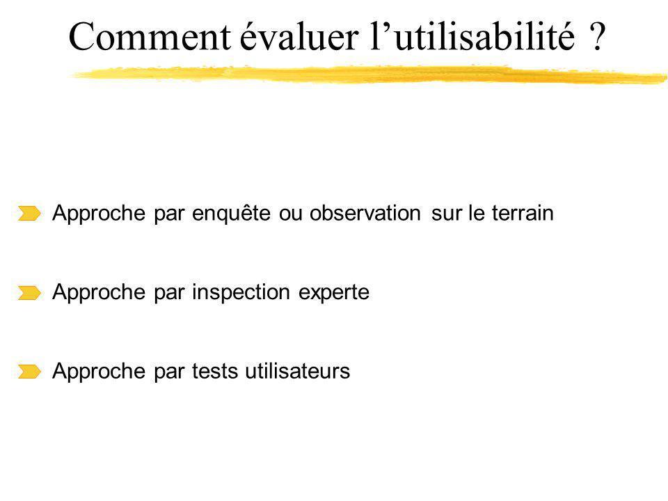 Approche par inspection experte Approche par enquête ou observation sur le terrain Approche par tests utilisateurs