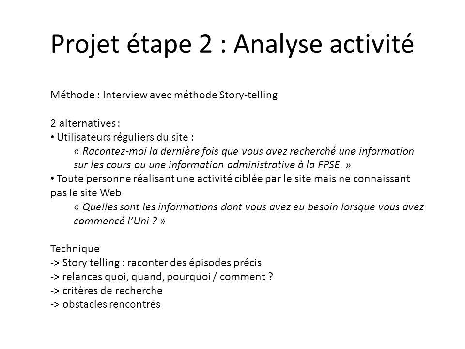 Projet étape 2 : Analyse activité Méthode : Interview avec méthode Story-telling 2 alternatives : Utilisateurs réguliers du site : « Racontez-moi la dernière fois que vous avez recherché une information sur les cours ou une information administrative à la FPSE.