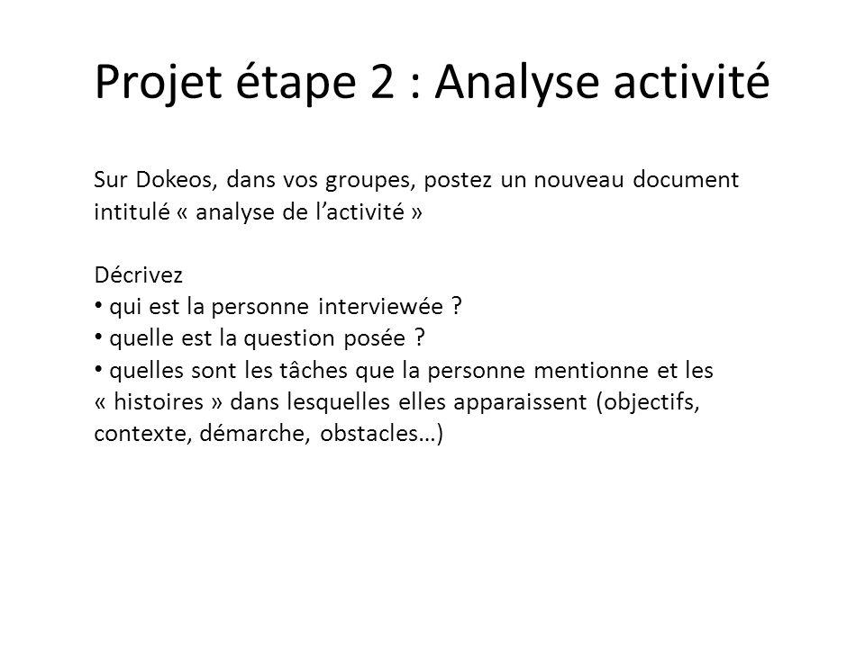 Projet étape 2 : Analyse activité Sur Dokeos, dans vos groupes, postez un nouveau document intitulé « analyse de lactivité » Décrivez qui est la perso