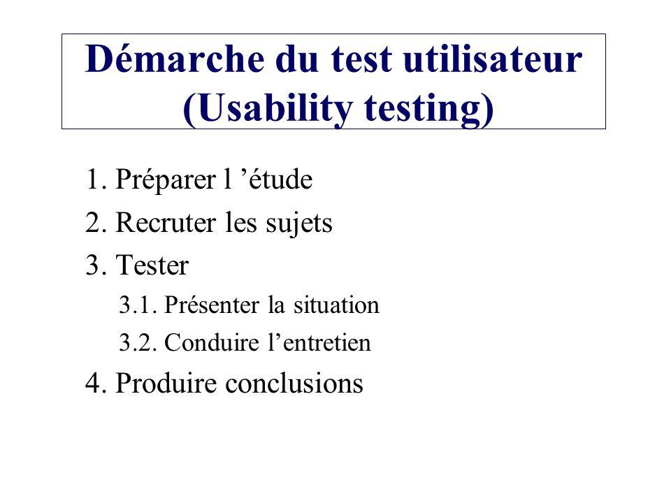 Démarche du test utilisateur (Usability testing) 1. Préparer l étude 2. Recruter les sujets 3. Tester 3.1. Présenter la situation 3.2. Conduire lentre