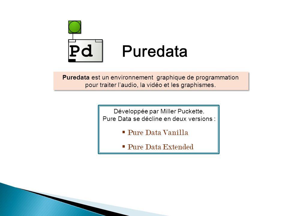 Puredata est un environnement graphique de programmation pour traiter laudio, la vidéo et les graphismes.