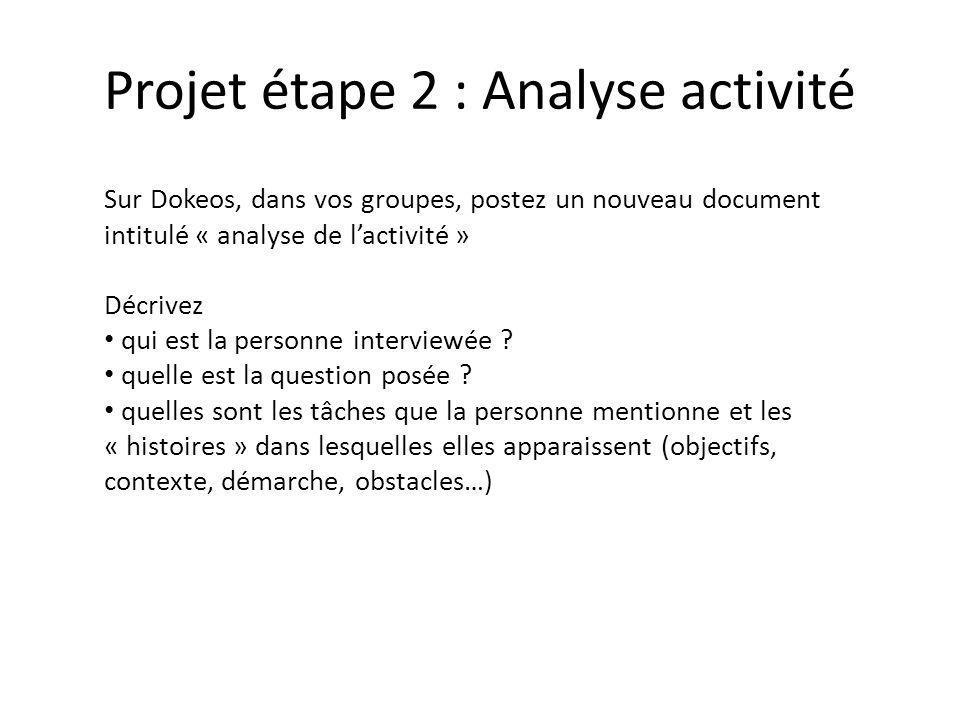 Projet étape 2 : Analyse activité Sur Dokeos, dans vos groupes, postez un nouveau document intitulé « analyse de lactivité » Décrivez qui est la personne interviewée .