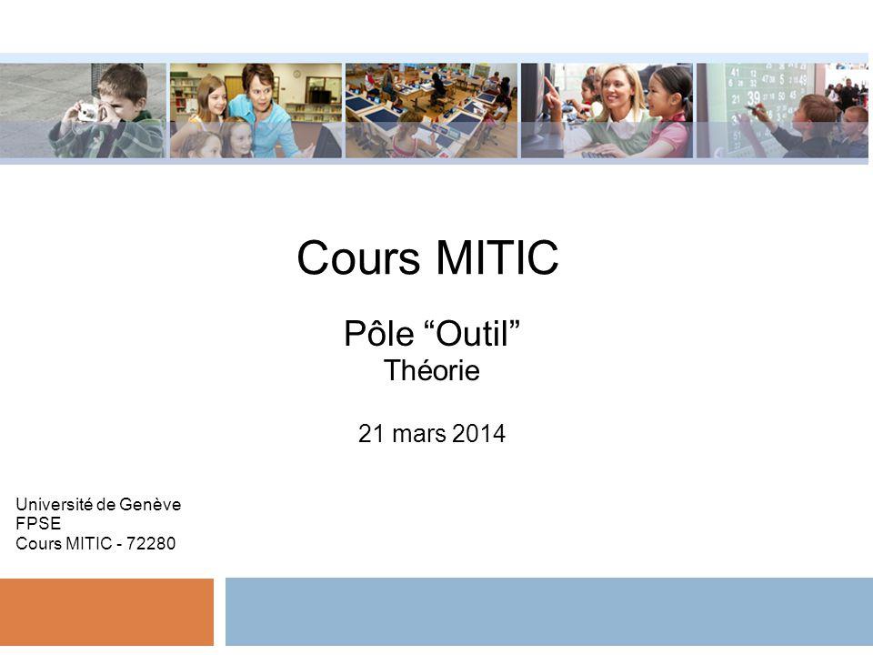 Cours MITIC Pôle Outil Théorie 21 mars 2014 Université de Genève FPSE Cours MITIC - 72280