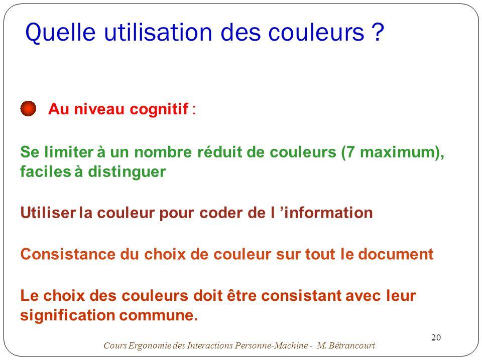 Cours Ergonomie des Interactions Personne-Machine - M.
