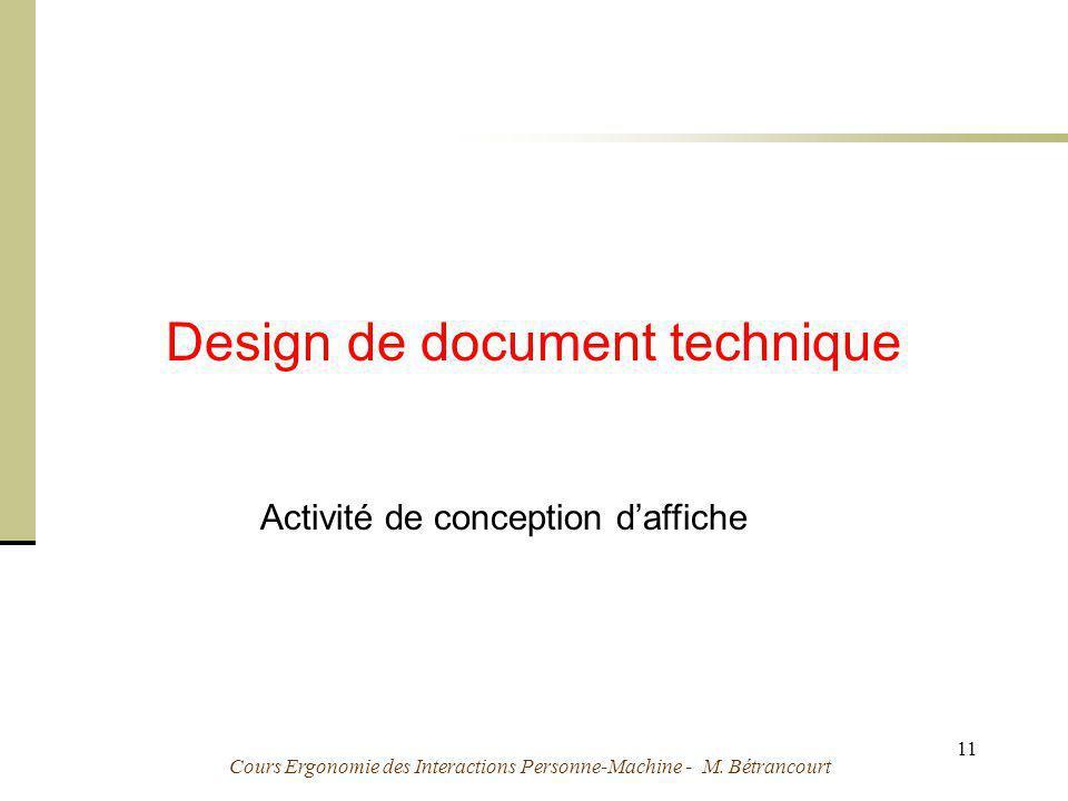 Cours Ergonomie des Interactions Personne-Machine - M. Bétrancourt 11 Design de document technique Activité de conception daffiche