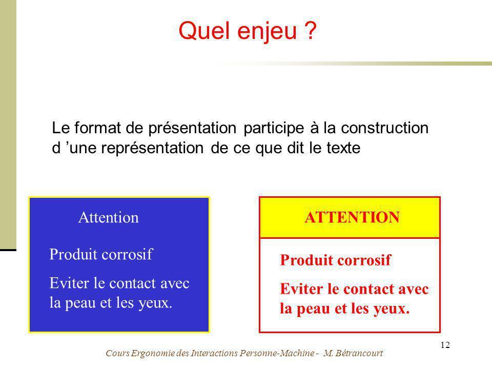 Cours Ergonomie des Interactions Personne-Machine - M. Bétrancourt 12 Quel enjeu ? Le format de présentation participe à la construction d une représe