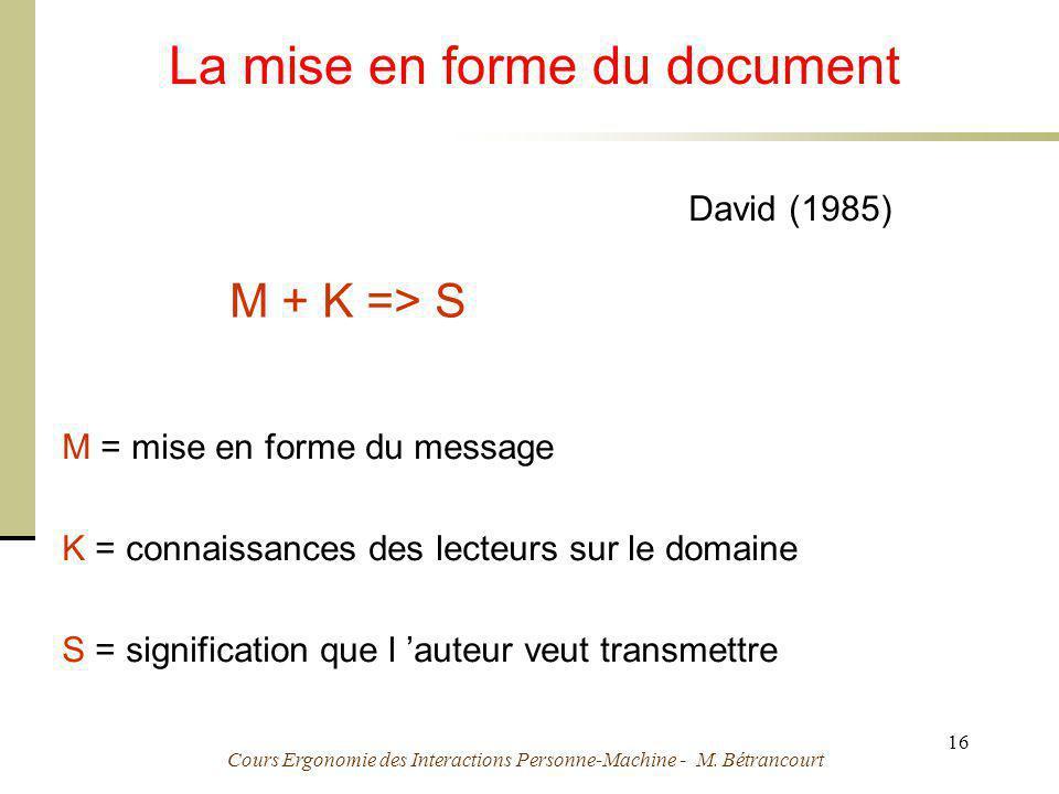 Cours Ergonomie des Interactions Personne-Machine - M. Bétrancourt 16 La mise en forme du document M + K => S M = mise en forme du message K = connais