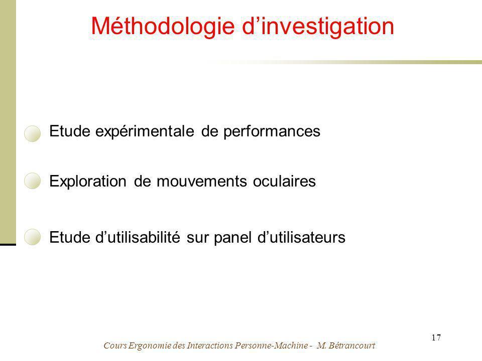 Cours Ergonomie des Interactions Personne-Machine - M. Bétrancourt 17 Méthodologie dinvestigation Etude expérimentale de performances Exploration de m