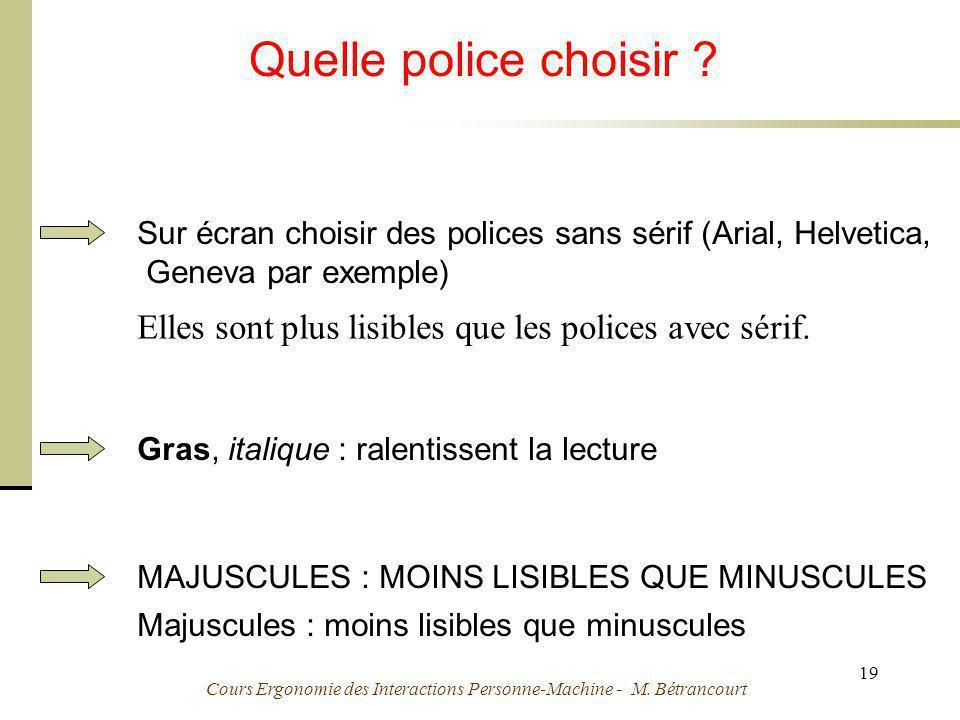 Cours Ergonomie des Interactions Personne-Machine - M. Bétrancourt 19 Quelle police choisir ? Sur écran choisir des polices sans sérif (Arial, Helveti