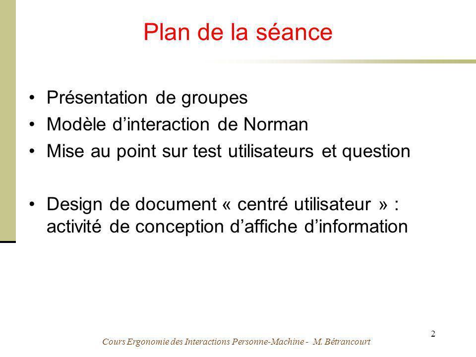 Cours Ergonomie des Interactions Personne-Machine - M. Bétrancourt 2 Plan de la séance Présentation de groupes Modèle dinteraction de Norman Mise au p