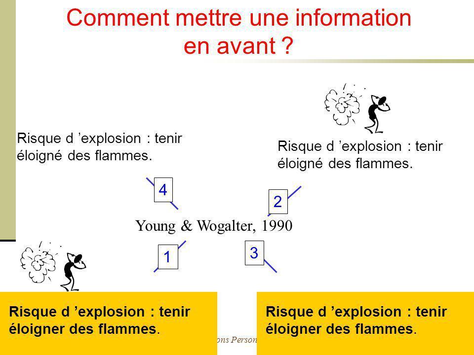 Cours Ergonomie des Interactions Personne-Machine - M. Bétrancourt 26 Comment mettre une information en avant ? Young & Wogalter, 1990 Risque d explos