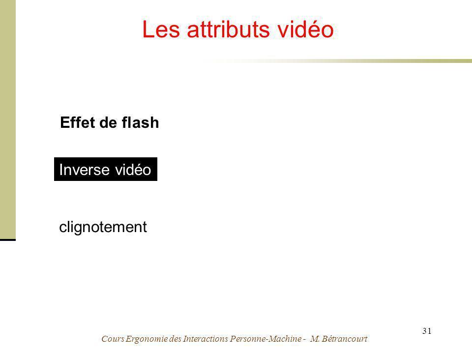 Cours Ergonomie des Interactions Personne-Machine - M. Bétrancourt 31 Les attributs vidéo Effet de flash Inverse vidéo Effet de flash clignotement