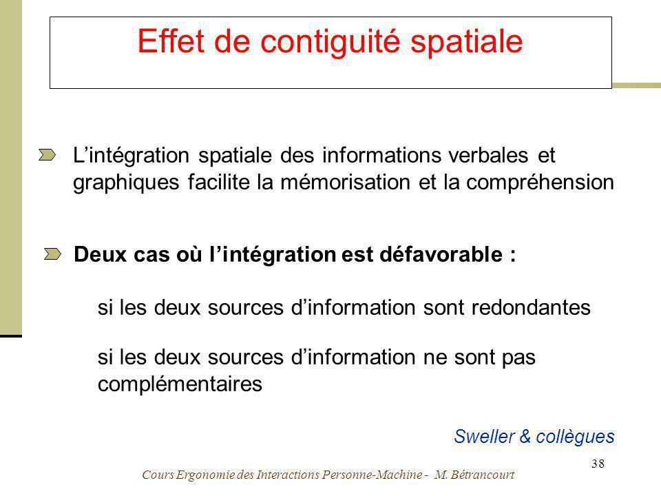 Cours Ergonomie des Interactions Personne-Machine - M. Bétrancourt 38 Effet de contiguité spatiale Deux cas où lintégration est défavorable : si les d