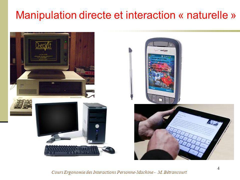 Cours Ergonomie des Interactions Personne-Machine - M. Bétrancourt 4 Manipulation directe et interaction « naturelle »