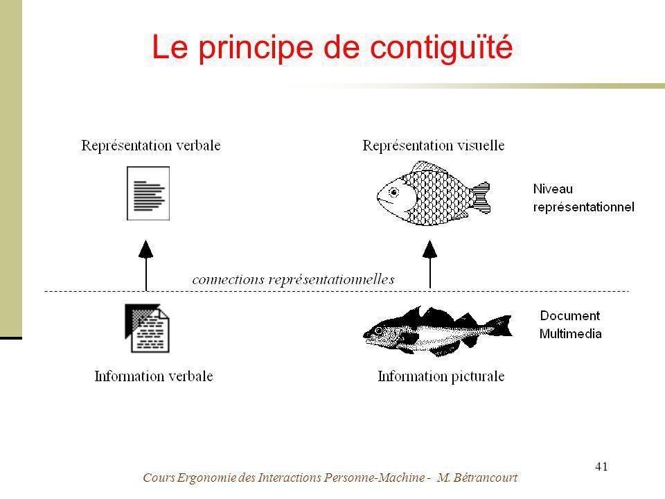 Cours Ergonomie des Interactions Personne-Machine - M. Bétrancourt 41 Le principe de contiguïté