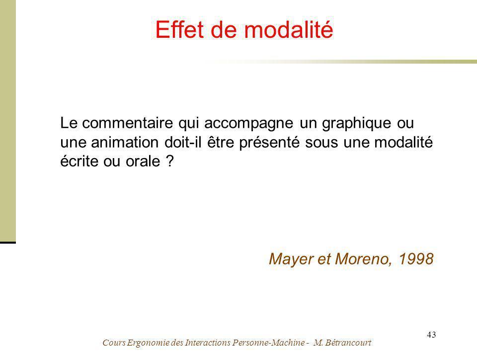 Cours Ergonomie des Interactions Personne-Machine - M. Bétrancourt 43 Effet de modalité Le commentaire qui accompagne un graphique ou une animation do