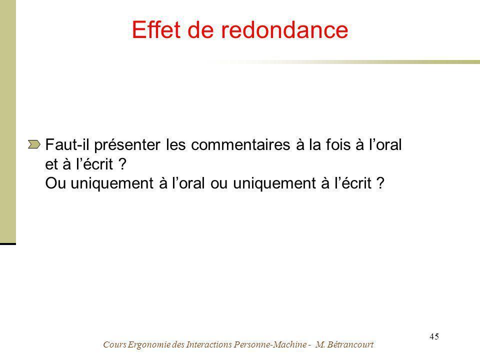 Cours Ergonomie des Interactions Personne-Machine - M. Bétrancourt 45 Effet de redondance Faut-il présenter les commentaires à la fois à loral et à lé